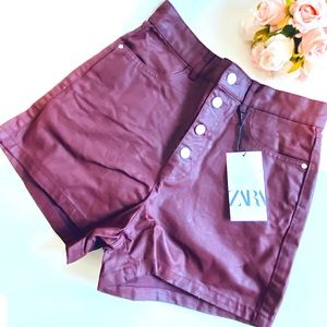 NWT Zara COATED MOM FIT CHIC SHORTS BURGUNDY 🌟